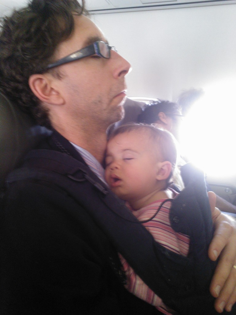 Napping with daddy in tight spaces (on a plane)