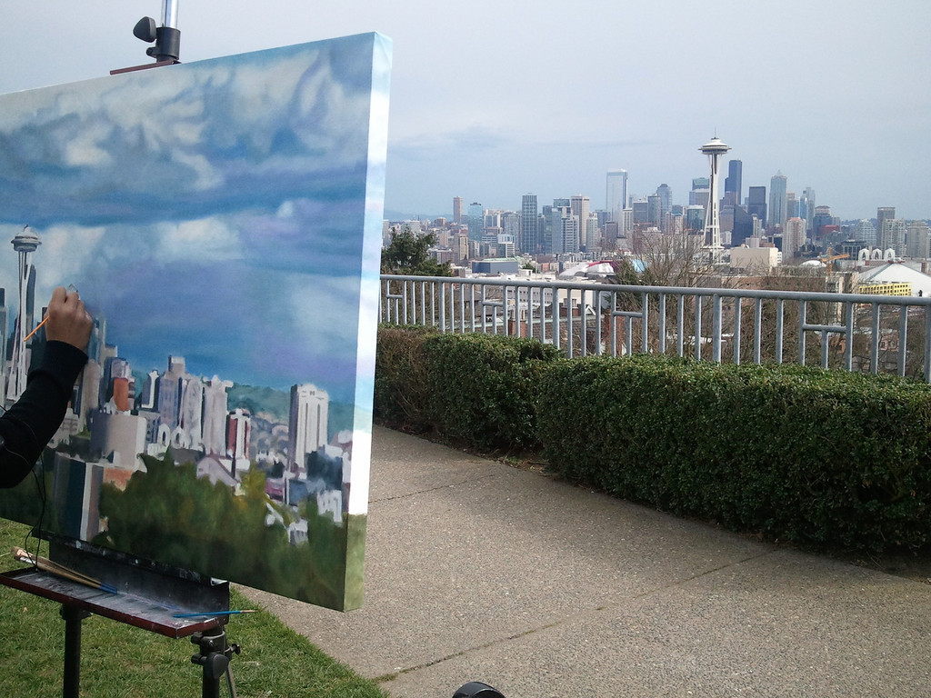 Seeing the painter, the painting and the subject (Kerry Park, Seattle)